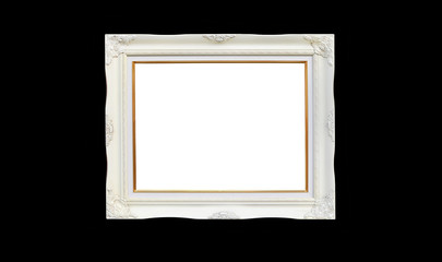 Antique white photo frame with empty space for your picture or text isolated on black background.