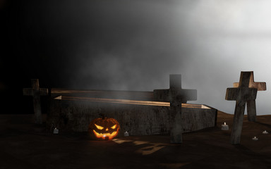 Halloween graveyard open coffin with cross in fog 3d-illustration