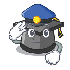 Police graduation hat character cartoon