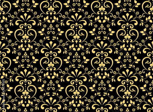 Wallpaper In The Style Of Baroque Seamless Vector Background Gold And Black Floral Ornament
