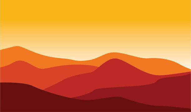 Mountain Desert Landscape Illustration Red Hot Weather