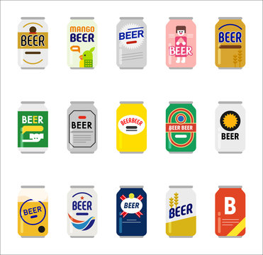 various kind of beer can icons. flat design style vector graphic illustration set