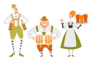 Oktoberfest set of funny cartoon characters in Bavarian costumes. People with beer on a white background.