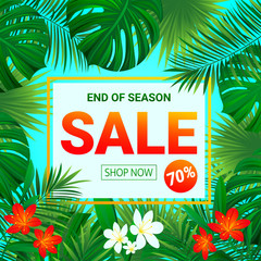 Sale banner. seasonal promotion poster. Summer Tropic sellout design.Floral background with exotic tropical flowers, leaves, plants. End of a season discount vector design for shop, business with text
