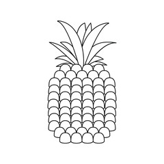 pineapple black symbol on the white background stroke