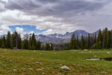 Wind River Range, Rocky Mountains, Wyoming, views from backpacking hiking trail to Titcomb Basin from Elkhart Park Trailhead going past Hobbs, Seneca, Island, Upper and Lower Jean Lakes