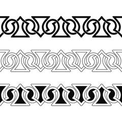 Fototapeta Set of Seamless Celtic national ornament interlaced ribbon isolated on white background. Element for graphic design.