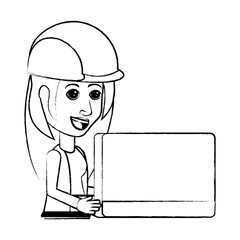 cartoon woman with safety helmet and using a laptop computer over white background, vector illustration