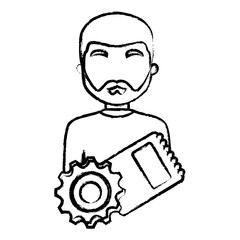 avatar man with gear and notepad over white background, vector illustration