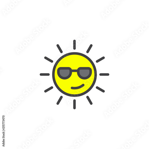 Summer Sun Face with sunglasses filled outline icon, line