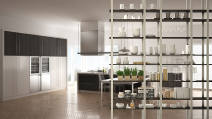 Kitchen living room shelving system foreground close-up, interior design concept, white modern room open plan in the background