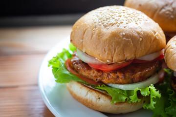 Sandwich with chicken burger.