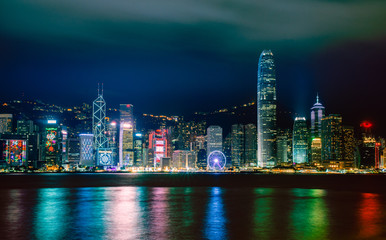 Hong Kong nightscape : View from Victoria harbour , The famous place in Hong Kong