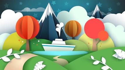 Cartoon paper landscape. Lake, ship mountain Vector eps 10
