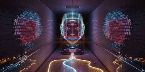 Cyborg hologram watching a subway interior 3D rendering