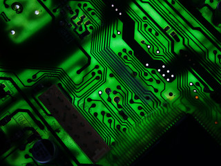 Backlit green circuit boar PCB