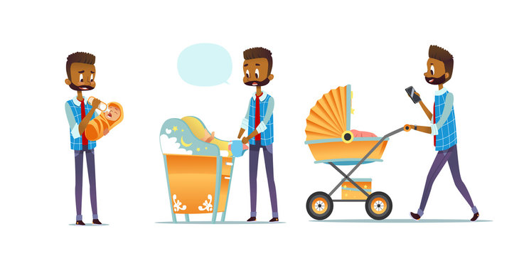African-American father taking care of child isolated on white background. Set of man feeding baby, changing diaper, carrying stroller. Super dad, modern fatherhood. Flat cartoon vector illustration.