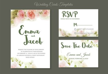 Pink roses watercolour style frame print.Vintage style Wedding Invitation pink roses watercolor hand drawn. save the date card design.vector template set.invite card design.Greeting Floral wedding