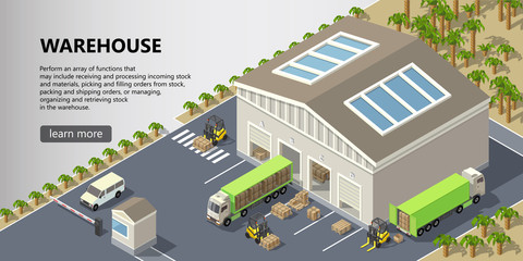Vector isometric warehouse, delivery service illustration. Storage building with trucks ready for shipping, forklifts with cargo. Web page with button and space for text, logistics concept banner