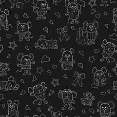 Seamless pattern with funny cartoon contour mouses ,the light  outlines on a dark background