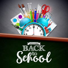 Back to school design with colorful pencil, brush and other school items on yellow background. Vector illustration with alarm clock, chalkboard and typography lettering for greeting card, banner