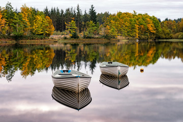 Two boats on Loch Rusky in the Trossachs National Park