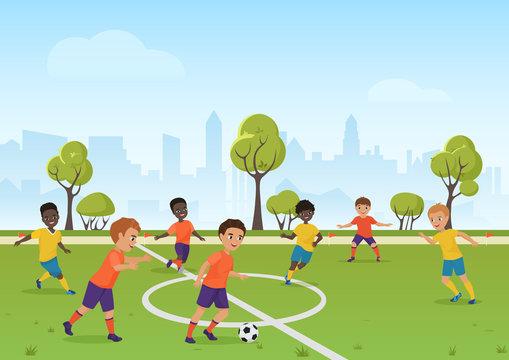 Kids soccer game. Boys playing soccer football on the school sport field. Cartoon vector illustration.