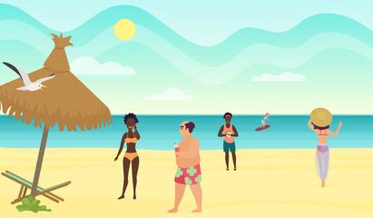 People on the beach cartoon vector illustration.