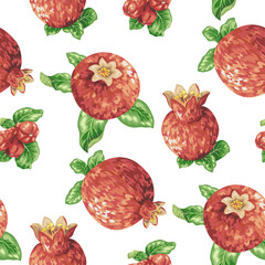 Seamless pattern with pomegranate fruits in vector graphic illustration