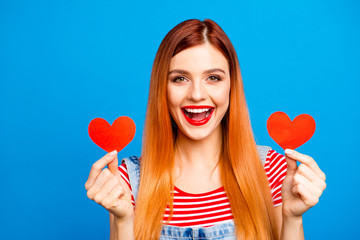 People person fun joy funny facial expression concept. Close up phoyo portrait of charming glad gorgeous nice cute lovely lady showing holding small little hearts in hands isolated background
