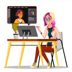 Photographer Retouching Photo Vector. Woman Working With Graphic Software. Freelance Concept. Isolated Illustration