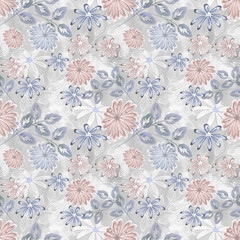 Seamless floral pattern . Light blue, pink flowers on light grey background.