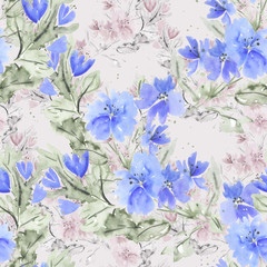 Seamless watercolor floral pattern . Blue, pink flowers on light background.