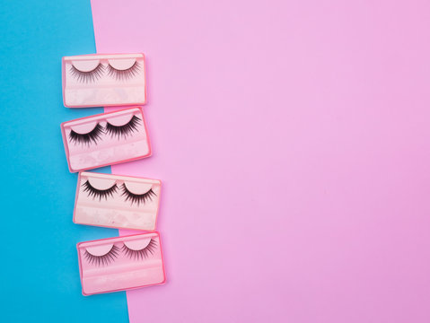 Eyelashes in the box on pink and blue backgorund