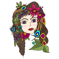 The girl's face in berries, flowers, peacock feathers, psychedelic pattern, doodle, summer