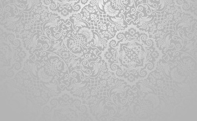 Elegant floral vector background. Silver toned vintage decorative texture. Wall mural