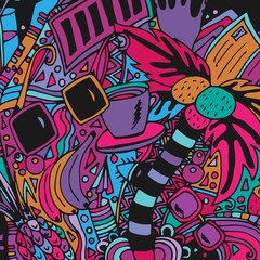 A palm and sunglasses. An abstract psychedelic pattern, a doodle drawn by hand