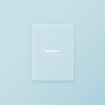 Translucent vertical vector matte glass shape. Geometric abstract transparent plastic rectangle material flat design element on colorful minimalistic background.