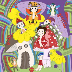 Forest, fantastic gnomes, bright, hand-drawn