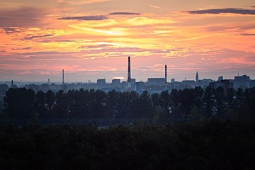 Sunset over industrial zone in Gliwice