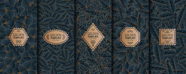 Set of golden luxury templates. Gold autumn leaves background. Vector illustration.