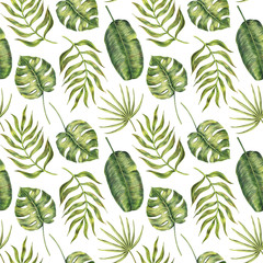 Seamless pattern with green tropical monstera, areca and banana palm leaves, hand-drawn raster illustration on white background. Seamless pattern of monstera, banana and areca palm leaves
