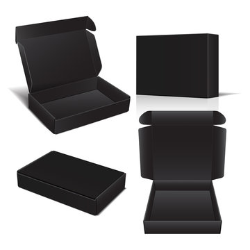 Set of Vector Black Cardboard Box. Package for Software, electronic device and other products. Vector 3d illustration