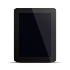 Tablet pc computer with black screen isolated on white background.