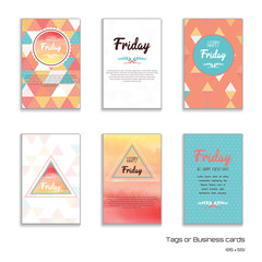 Set of six vertical business cards with multicolored triangles and grid. Place for your text.