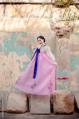 Woman Wearing Hanbok Korean Traditional Dress Costume Walk And