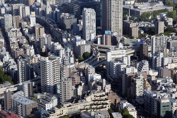 Panoramic view of Tokyo skyline in Japan