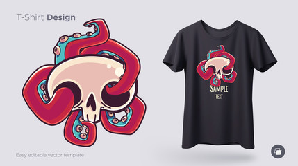 Skull with octopus t-shirt design. Print for clothes, posters or souvenirs. Vector