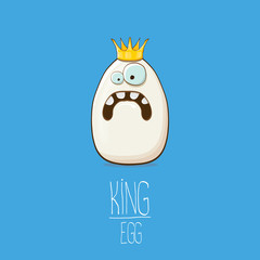 white egg king with crown characters isolated on blue background. My name is egg vector concept illustration. funky farm food or easter king character with eyes and mouth