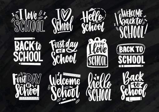 Collection of Back to School lettering written with elegant calligraphic font and decorated with stationary. Set of handwritten slogans or phrases isolated on black background. Vector illustration.